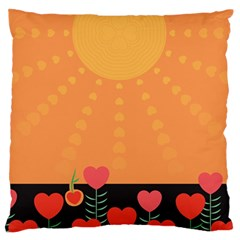Love Heart Valentine Sun Flowers Large Flano Cushion Case (one Side) by Simbadda