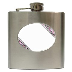 Floral Ornament Baby Girl Design Hip Flask (6 Oz) by Simbadda