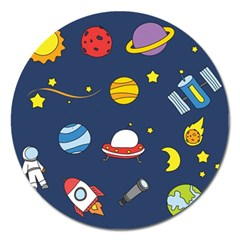 Space Background Design Magnet 5  (round) by Simbadda