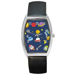 Space Background Design Barrel Style Metal Watch by Simbadda