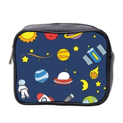 Space Background Design Mini Toiletries Bag 2 Side by Simbadda