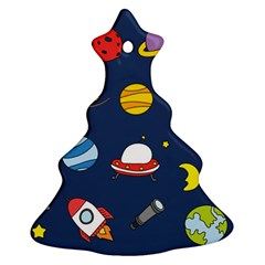 Space Background Design Ornament (christmas Tree)  by Simbadda