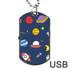 Space Background Design Dog Tag Usb Flash (two Sides) by Simbadda