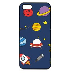 Space Background Design Apple Iphone 5 Seamless Case (black) by Simbadda