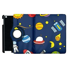 Space Background Design Apple Ipad 3/4 Flip 360 Case by Simbadda