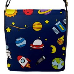 Space Background Design Flap Messenger Bag (s) by Simbadda