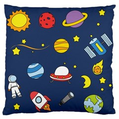 Space Background Design Large Flano Cushion Case (one Side) by Simbadda