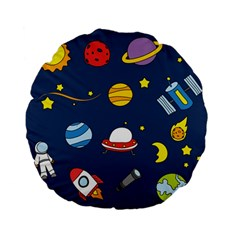 Space Background Design Standard 15  Premium Flano Round Cushions by Simbadda