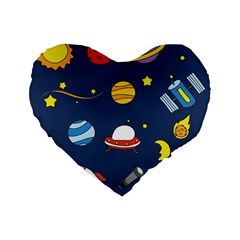 Space Background Design Standard 16  Premium Flano Heart Shape Cushions by Simbadda