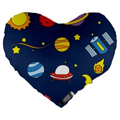 Space Background Design Large 19  Premium Flano Heart Shape Cushions by Simbadda