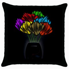 Flowers Painting Still Life Plant Throw Pillow Case (black) by Simbadda