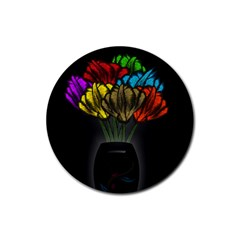 Flowers Painting Still Life Plant Rubber Round Coaster (4 Pack)  by Simbadda