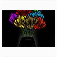 Flowers Painting Still Life Plant Large Glasses Cloth (2 Side) by Simbadda