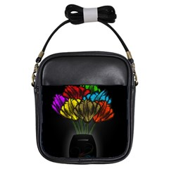 Flowers Painting Still Life Plant Girls Sling Bags by Simbadda