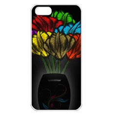 Flowers Painting Still Life Plant Apple Iphone 5 Seamless Case (white) by Simbadda