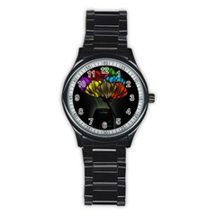Flowers Painting Still Life Plant Stainless Steel Round Watch by Simbadda