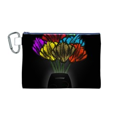 Flowers Painting Still Life Plant Canvas Cosmetic Bag (m) by Simbadda