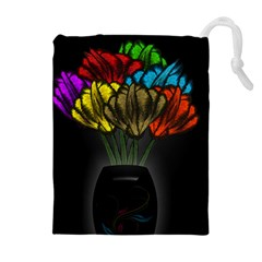 Flowers Painting Still Life Plant Drawstring Pouches (extra Large) by Simbadda