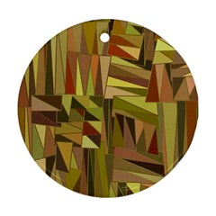 Earth Tones Geometric Shapes Unique Ornament (round) by Simbadda