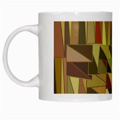 Earth Tones Geometric Shapes Unique White Mugs by Simbadda