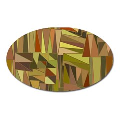 Earth Tones Geometric Shapes Unique Oval Magnet by Simbadda