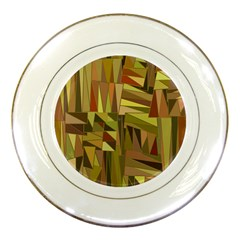Earth Tones Geometric Shapes Unique Porcelain Plates by Simbadda