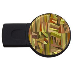 Earth Tones Geometric Shapes Unique Usb Flash Drive Round (4 Gb) by Simbadda