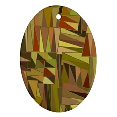 Earth Tones Geometric Shapes Unique Oval Ornament (two Sides) by Simbadda