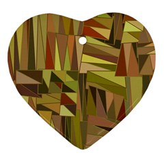 Earth Tones Geometric Shapes Unique Heart Ornament (two Sides) by Simbadda