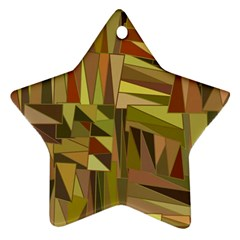 Earth Tones Geometric Shapes Unique Star Ornament (two Sides) by Simbadda