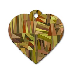 Earth Tones Geometric Shapes Unique Dog Tag Heart (one Side) by Simbadda