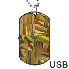 Earth Tones Geometric Shapes Unique Dog Tag Usb Flash (one Side) by Simbadda