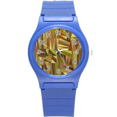 Earth Tones Geometric Shapes Unique Round Plastic Sport Watch (s) by Simbadda
