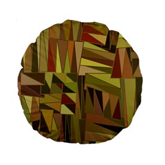 Earth Tones Geometric Shapes Unique Standard 15  Premium Round Cushions by Simbadda
