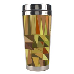 Earth Tones Geometric Shapes Unique Stainless Steel Travel Tumblers by Simbadda