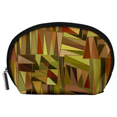 Earth Tones Geometric Shapes Unique Accessory Pouches (large)  by Simbadda