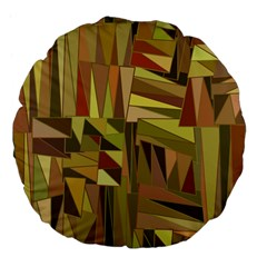 Earth Tones Geometric Shapes Unique Large 18  Premium Flano Round Cushions by Simbadda