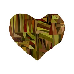 Earth Tones Geometric Shapes Unique Standard 16  Premium Flano Heart Shape Cushions by Simbadda