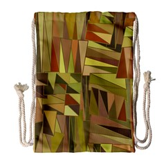 Earth Tones Geometric Shapes Unique Drawstring Bag (large) by Simbadda