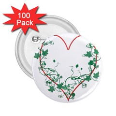 Heart Ranke Nature Romance Plant 2 25  Buttons (100 Pack)  by Simbadda