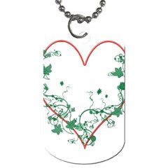 Heart Ranke Nature Romance Plant Dog Tag (one Side) by Simbadda