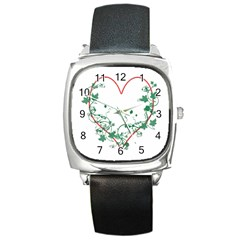 Heart Ranke Nature Romance Plant Square Metal Watch by Simbadda