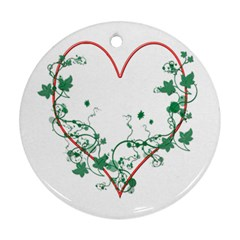 Heart Ranke Nature Romance Plant Round Ornament (two Sides) by Simbadda