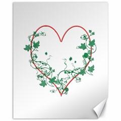 Heart Ranke Nature Romance Plant Canvas 11  X 14   by Simbadda