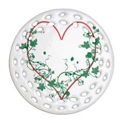 Heart Ranke Nature Romance Plant Round Filigree Ornament (two Sides) by Simbadda
