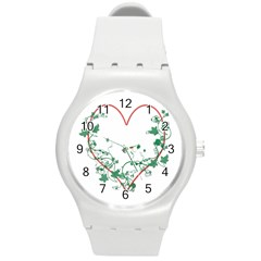 Heart Ranke Nature Romance Plant Round Plastic Sport Watch (m) by Simbadda