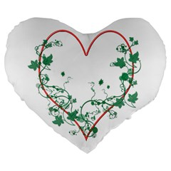 Heart Ranke Nature Romance Plant Large 19  Premium Heart Shape Cushions by Simbadda