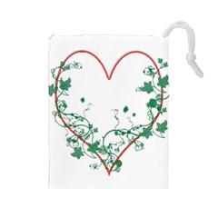 Heart Ranke Nature Romance Plant Drawstring Pouches (large)  by Simbadda