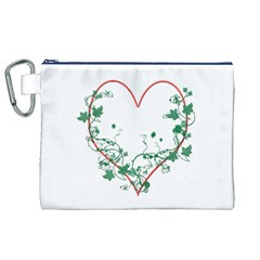 Heart Ranke Nature Romance Plant Canvas Cosmetic Bag (xl) by Simbadda