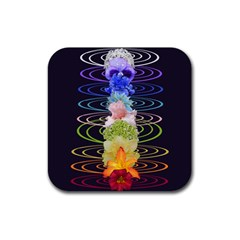 Chakra Spiritual Flower Energy Rubber Coaster (square)  by Simbadda